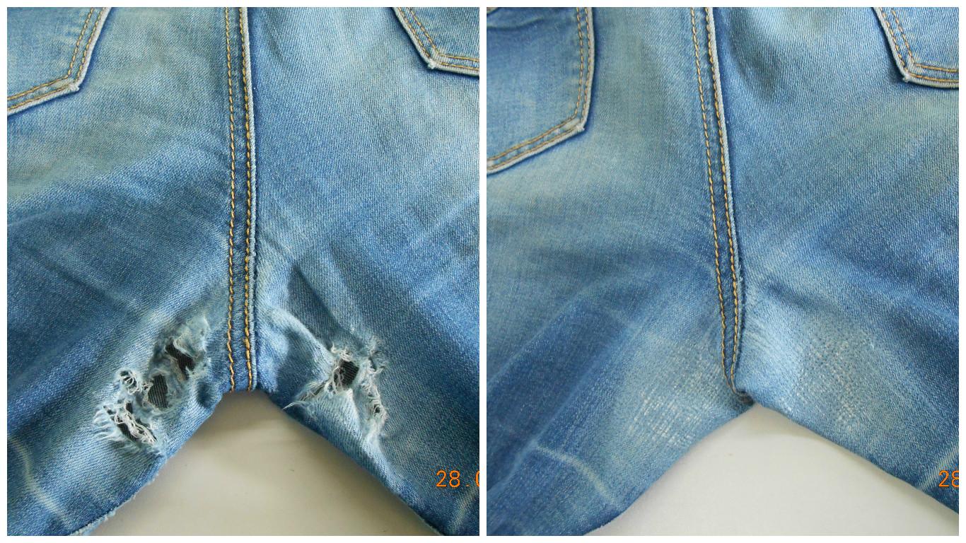 Как заштопать джинсы между ног с