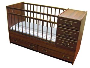 Кровать трансформер Раиса темная с комодом. Детская кровать - трансформер с тумбой для детей от 0 до 10 лет