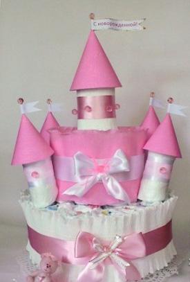 Замок из памперсов для девочки мастер класс