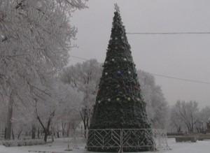 В Саяногорске начали установку одной из городских елок