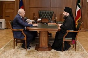 Виктор Зимин встретился с архиепископом Абаканским и Хакасским Ионафаном