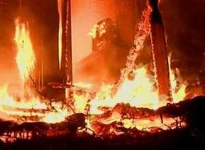 В Майна сгорел гараж