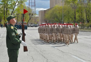 Кадеты и юнармейцы Хакасии принимают участие в генеральной репетиции парада Великой Победы