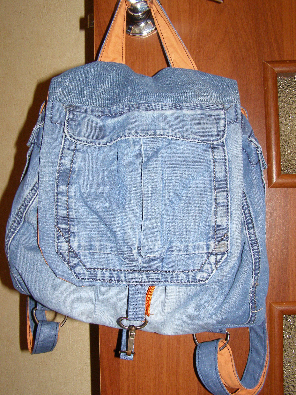 Рюкзак из старых джинсов с выкройками