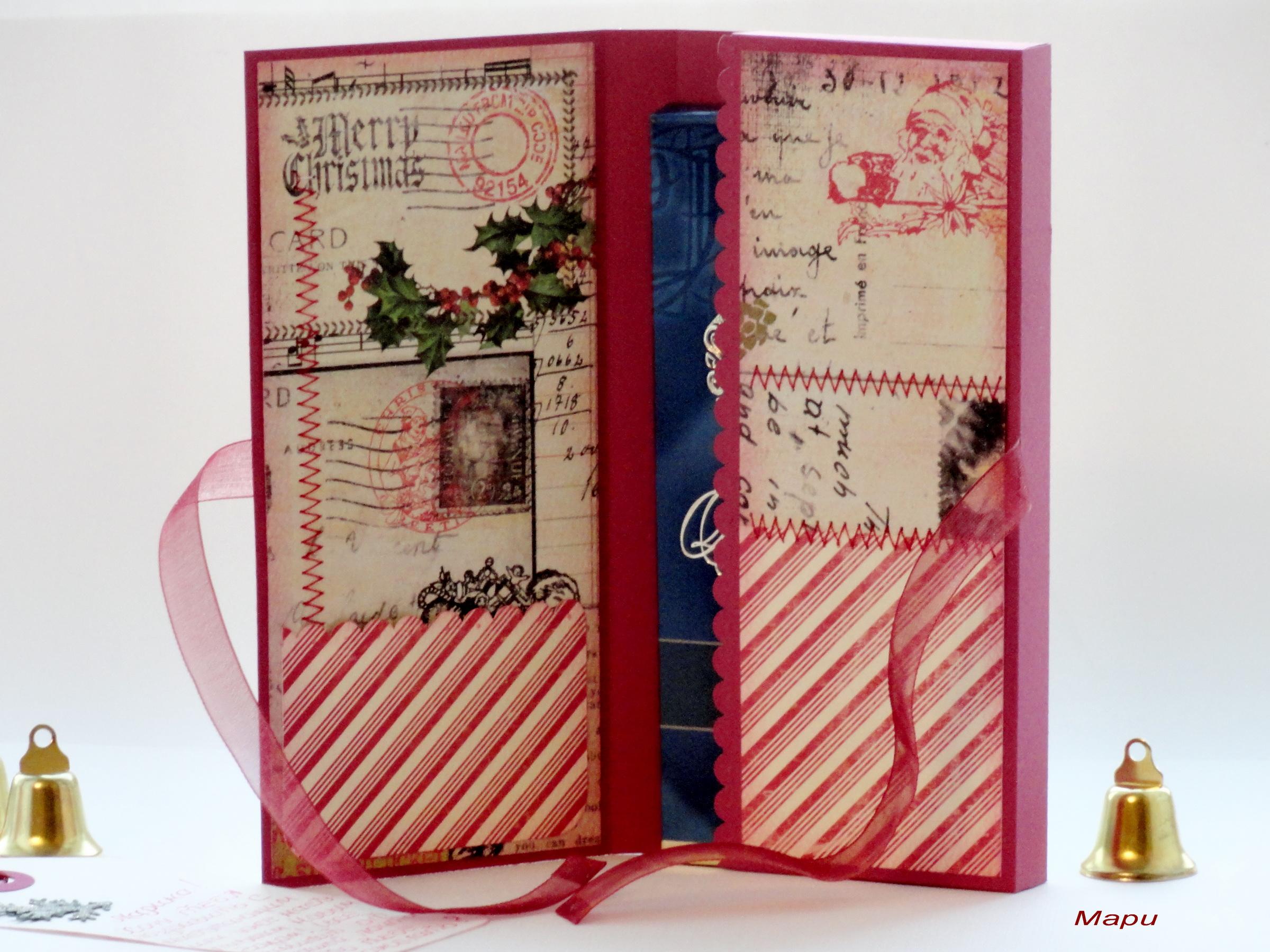 скрапбукинг открытка с двумя кармашками